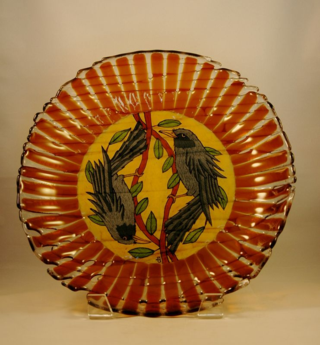 Amber Blue Bird Bowl 4