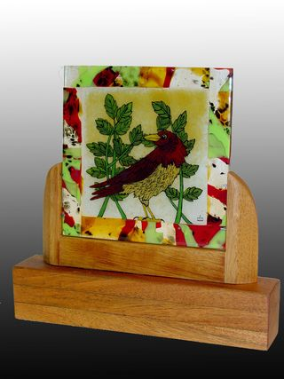 Red Bird in Mahogany with greyscale