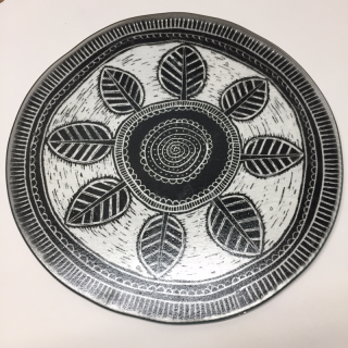 Black and white sgraffito on scrap melt April 2017 2