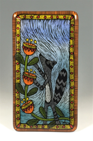 Raccoon with flowers tile 1