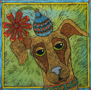 PUT UPON DOG TILE 8 INCH