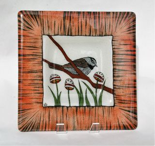 Chickadee and Flower Pods 10 x 10 3