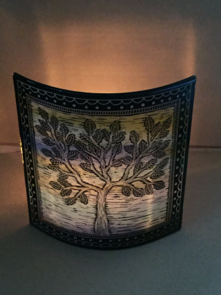 Candle screen large blue